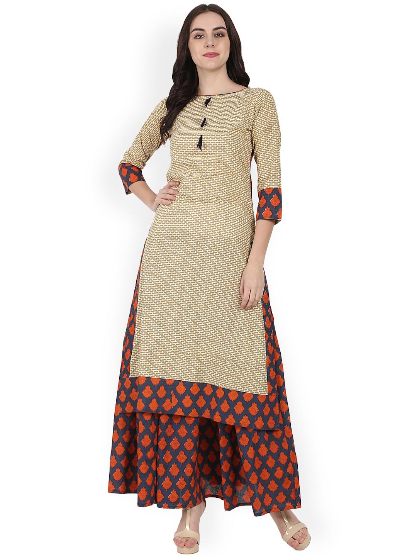 899ed4e9248 Buy Nayo Women Beige   Black Printed Kurta With Skirt - Kurta Sets ...