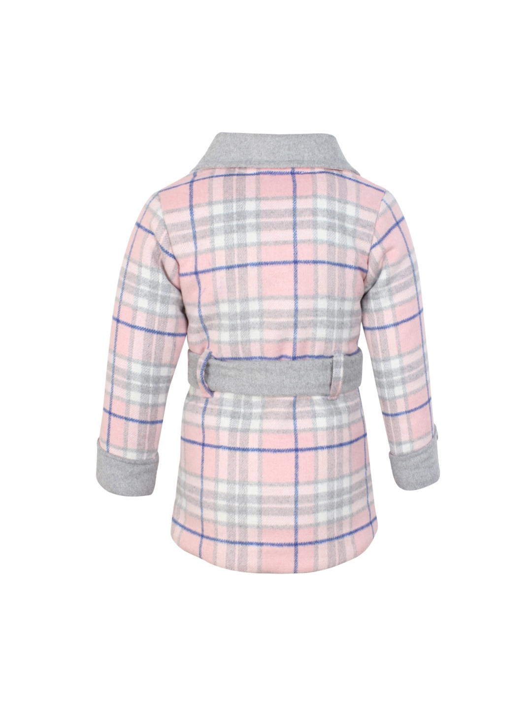 d38961b0586d Buy CUTECUMBER Girls Pink And Grey Checked Heavy Winter Peacoat ...