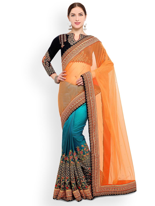 6984f30bcb Buy RIYA Orange & Blue Poly Silk Embroidered Saree - Sarees for ...