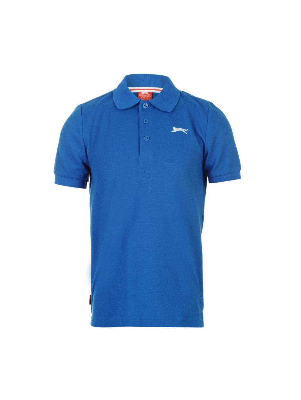 d364e53f Buy Slazenger Boys Blue Solid Polo Collar T Shirt - Tshirts for Boys ...