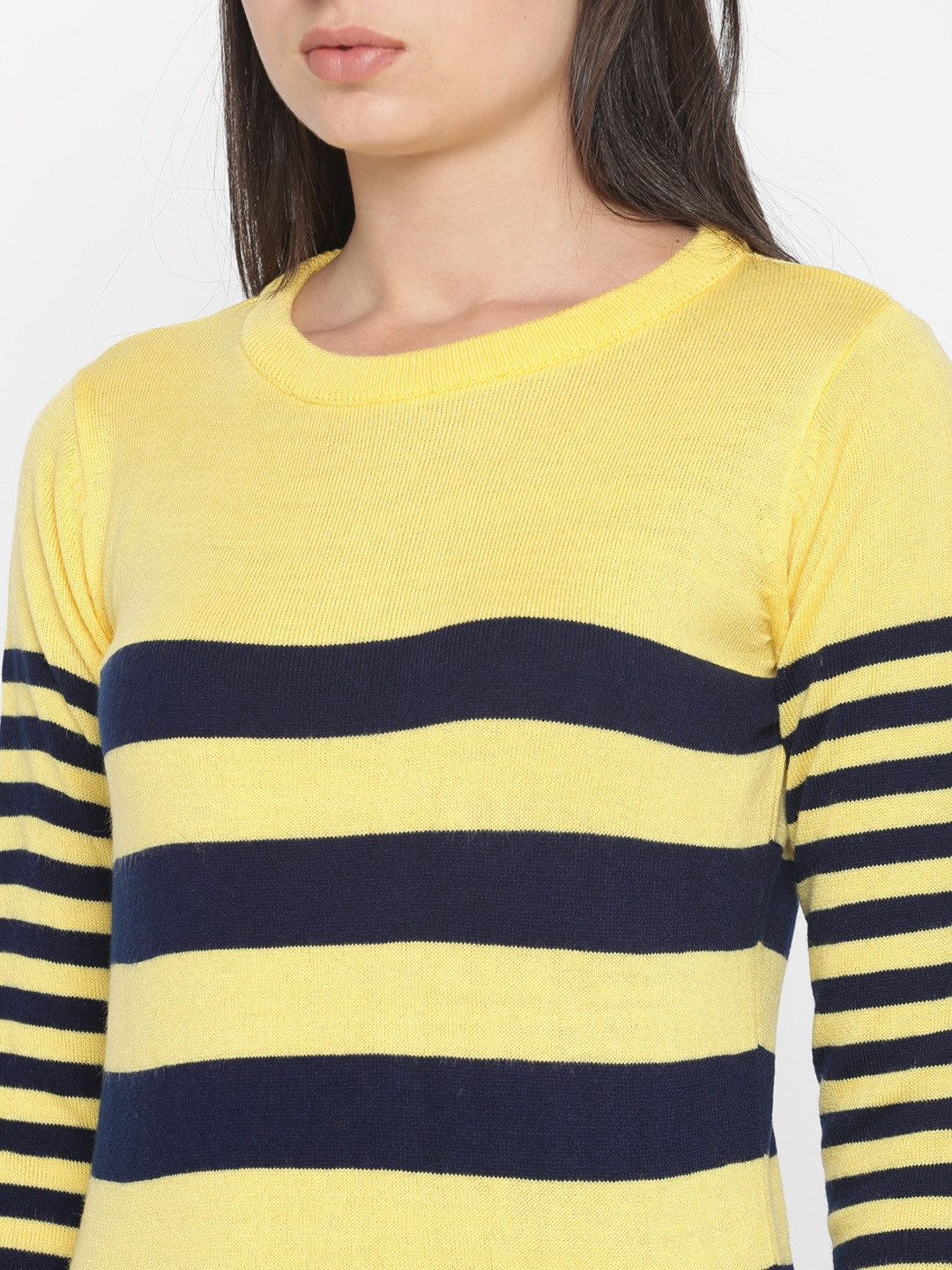 Buy Roadster Women Navy Blue Yellow Striped Pullover Sweaters