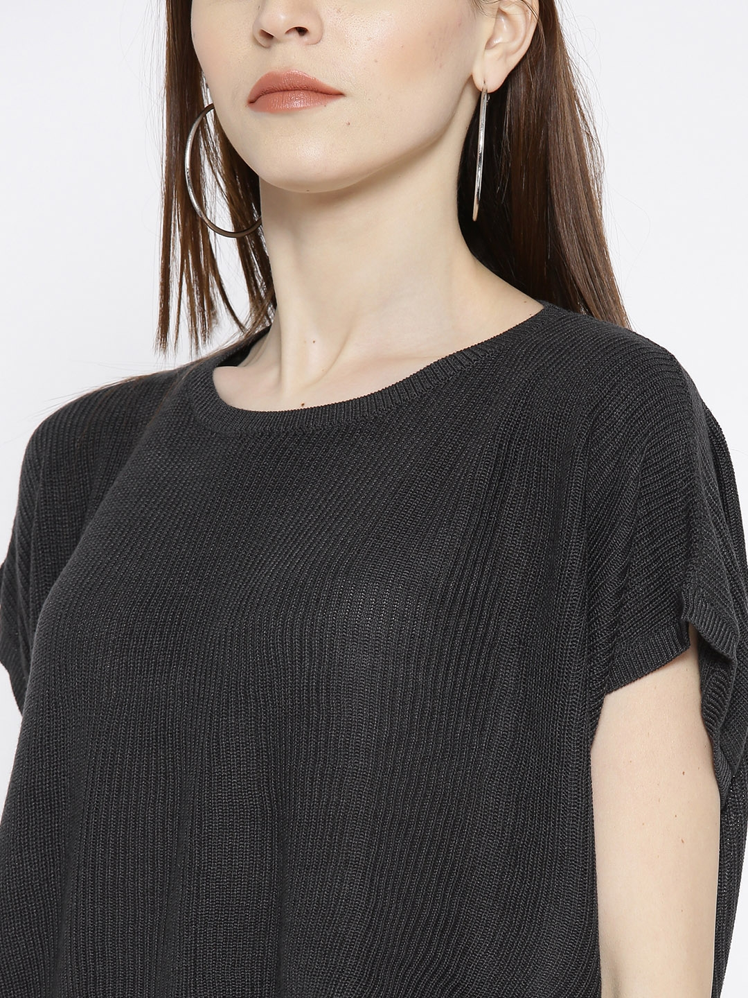 b6ee78731ed1e Buy FOREVER 21 Women Charcoal Grey Ribbed Crop Sweater - Sweaters ...