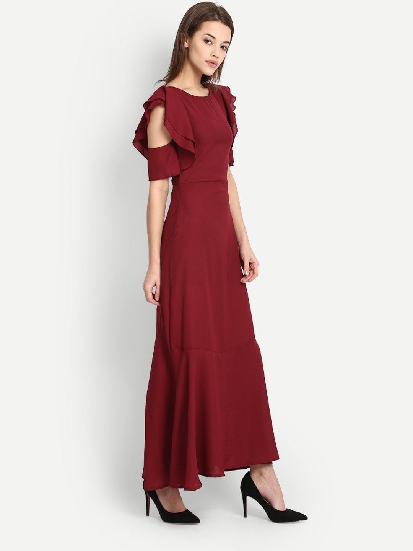 566e9bbfd06d1 Buy StalkBuyLove Women Maroon Solid Cold Shoulder Maxi Dress ...