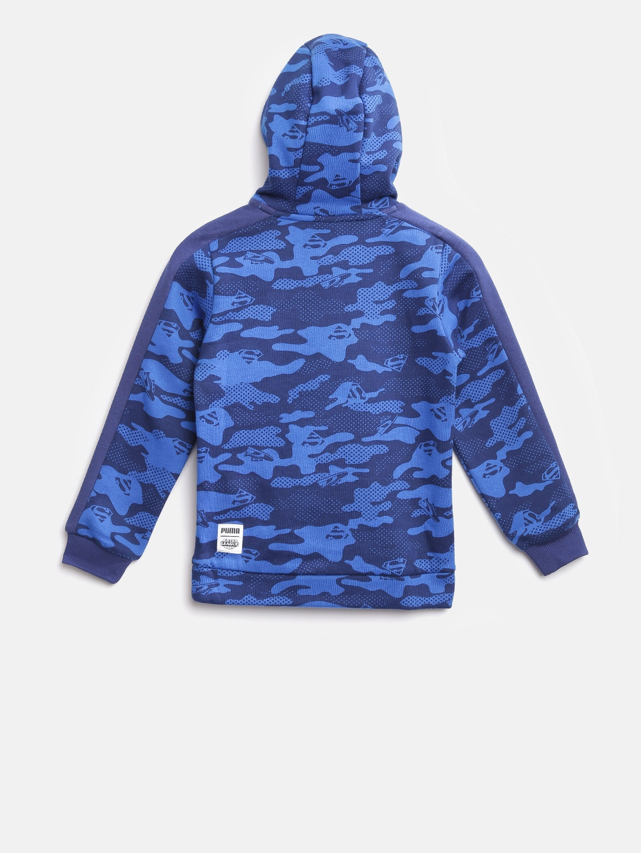 a8e309295ef7 Buy Puma Boys Blue Justice League Camouflage Print Hooded Sweatshirt ...