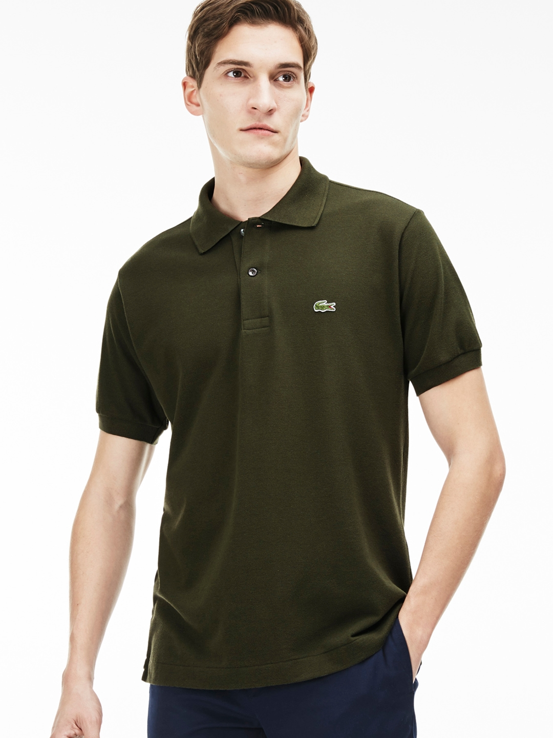 a6e16066 Buy Lacoste Men Olive Green Solid Polo Collar T Shirt - Tshirts for ...