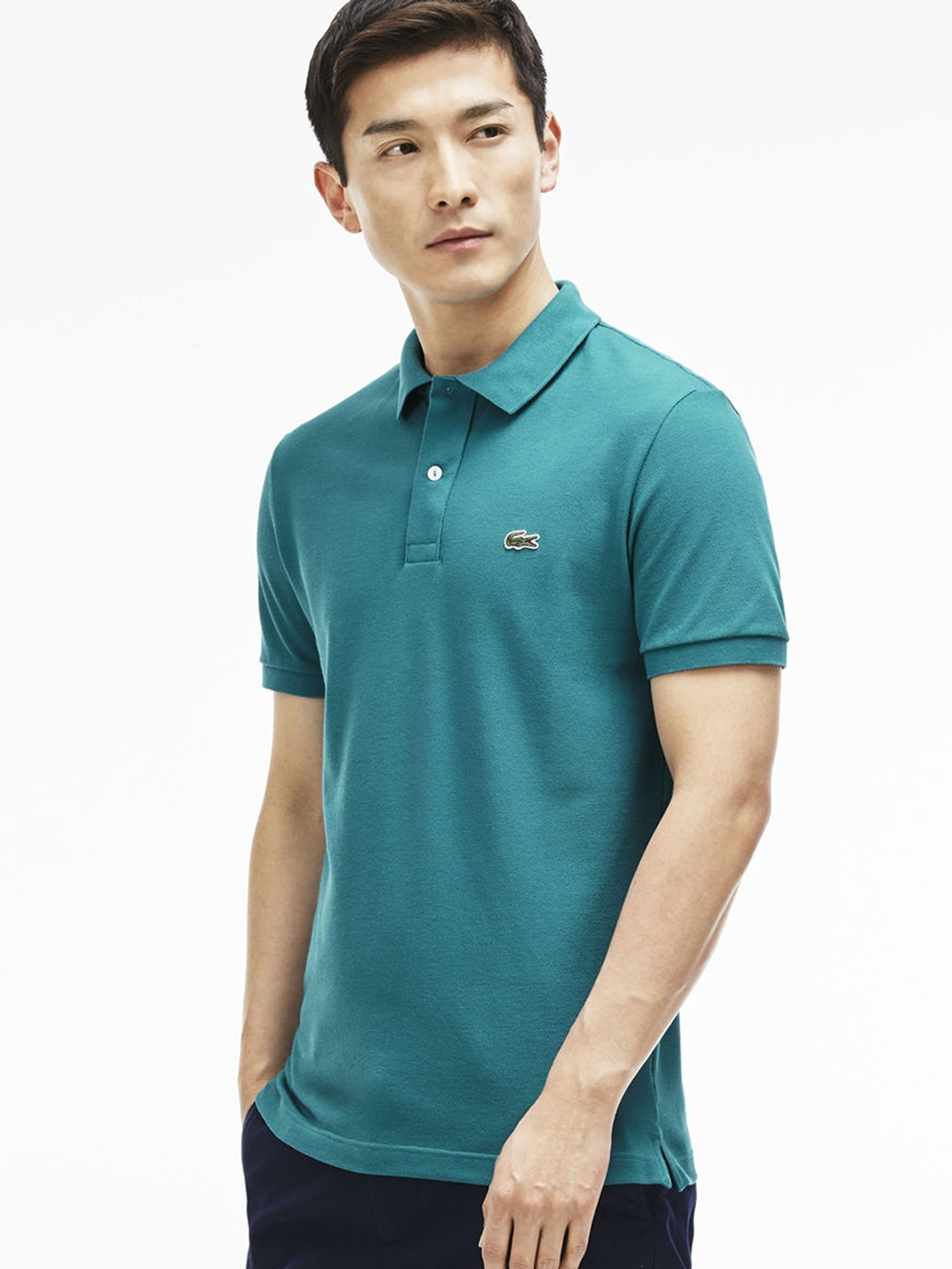 cbb72138 Buy Lacoste Men Turquoise Blue Solid Polo Collar T Shirt - Tshirts ...