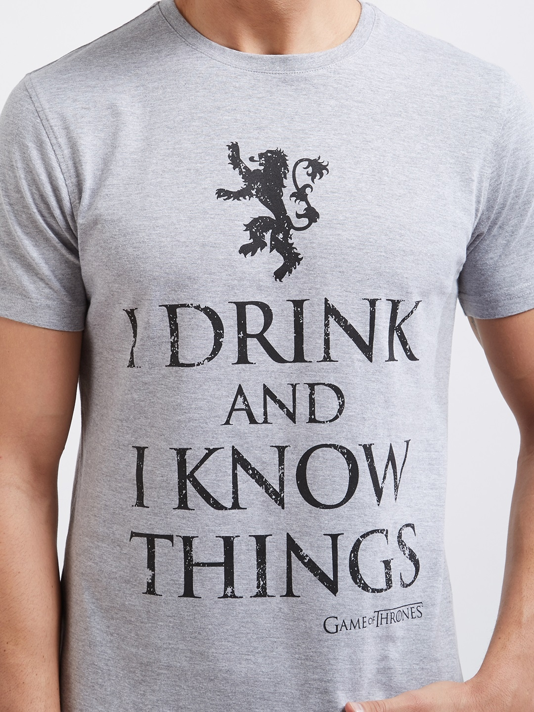 a9429e2e8 Buy Redwolf Men Grey I Drink And I Know Things Official Game Of ...