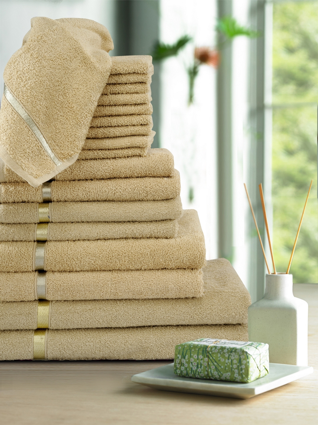 Story@home Set of 18 Yellow 450 GSM Towels