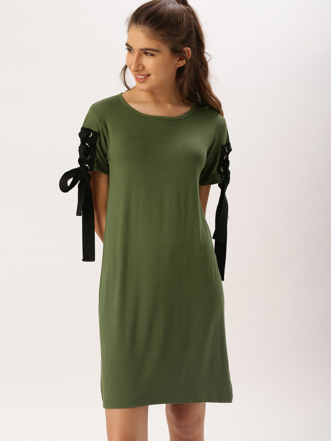 Buy DressBerry Women Olive Green Solid T Shirt Dress - Dresses for ... 87cb98393e