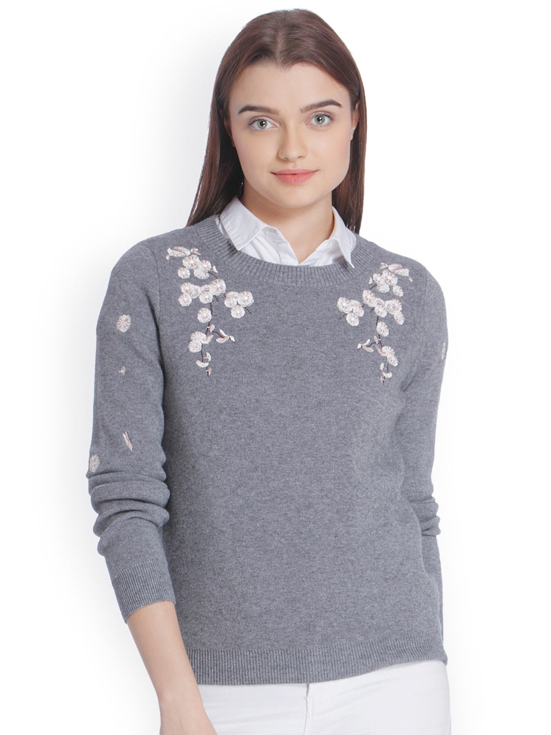 74037b3894d Buy Vero Moda Women Grey Self Design Pullover - Sweaters for Women ...
