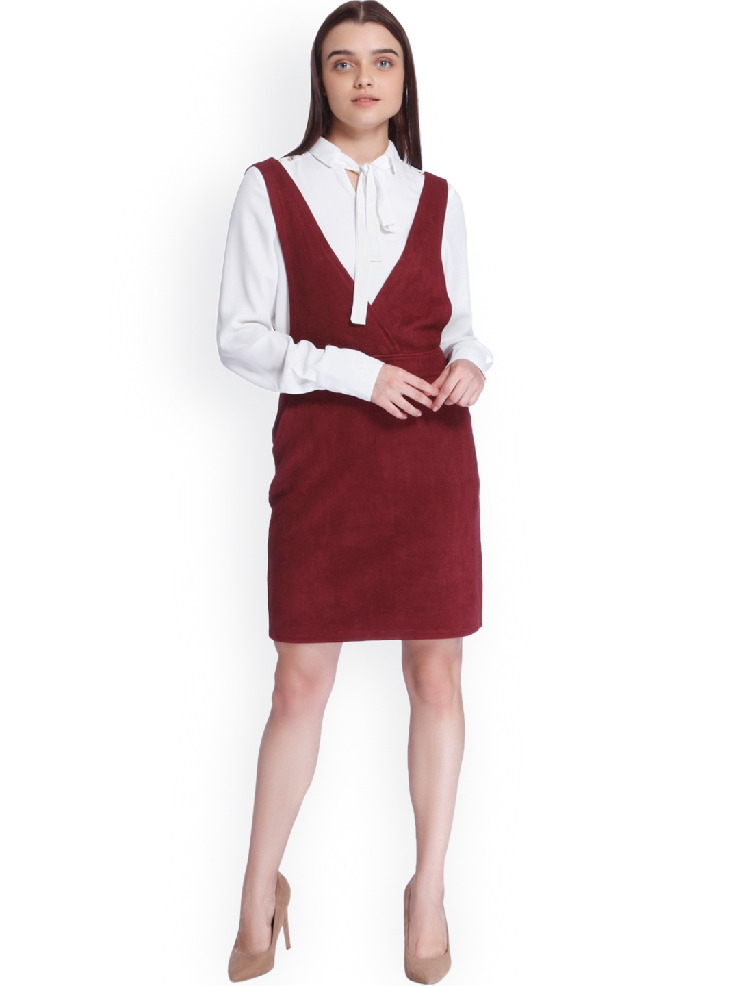 Buy Vero Moda Women Burgundy Solid Pinafore Dress Dresses For