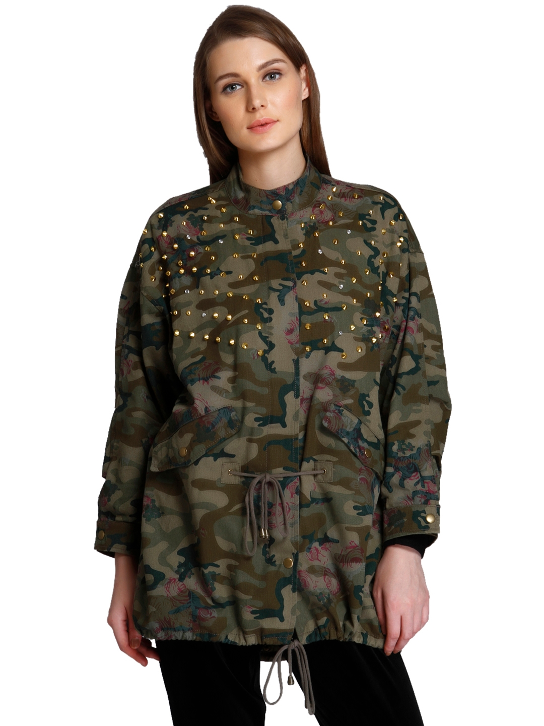 83f4a17012c1a Buy ONLY Women Olive Green & Brown Printed Longline Parka Jacket ...