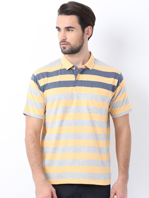 ed39008e7 Buy Classic Polo Men Yellow Striped Slim Fit Polo Collar T Shirt ...