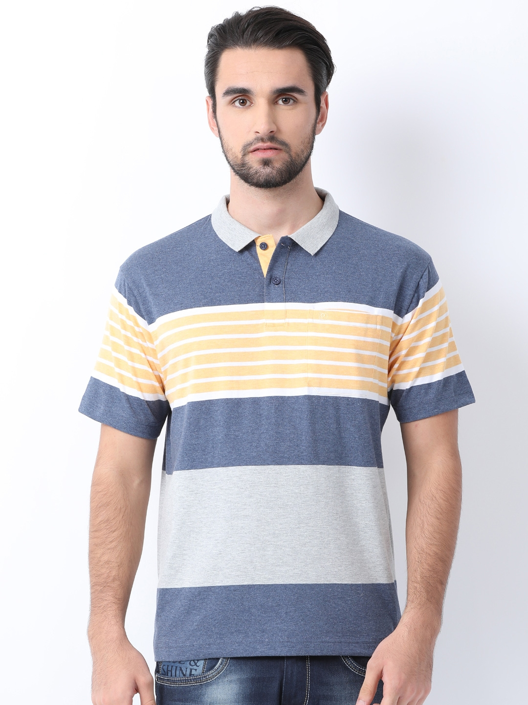 c2ce4ce75225 Buy Classic Polo Men Blue Striped Polo Collar T Shirt - Tshirts for ...