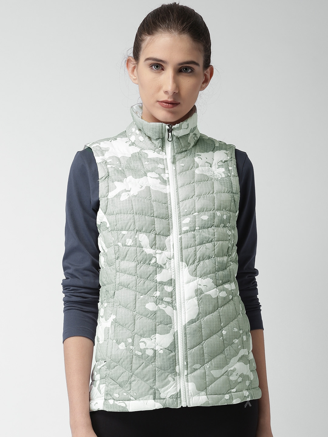 f7e29dc008 Buy The North Face Grey   White Printed W THERMOBALL VEST AP Quilted ...
