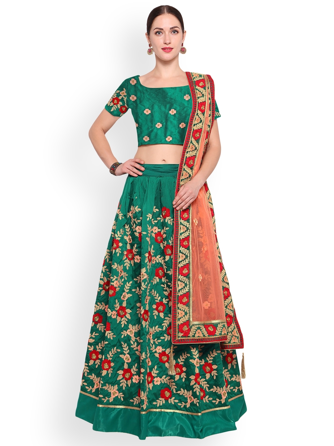 0c37188a7 Styles Closet Green   Pink Embroidered Semi-Stitched Lehenga   Unstitched  Blouse with Dupatta