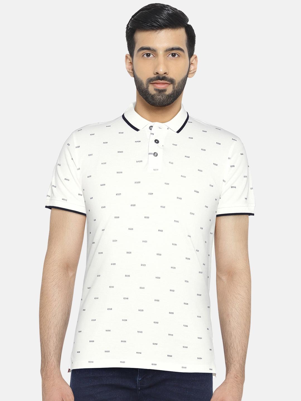 5b1ed762e Buy Lee Cooper Men White Printed Polo Collar T Shirt - Tshirts for ...