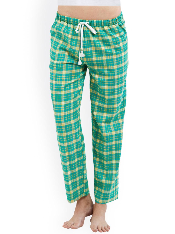 94b2b8a981f3 Buy PrettySecrets Green   Yellow Checked Pyjamas - Lounge Pants for ...
