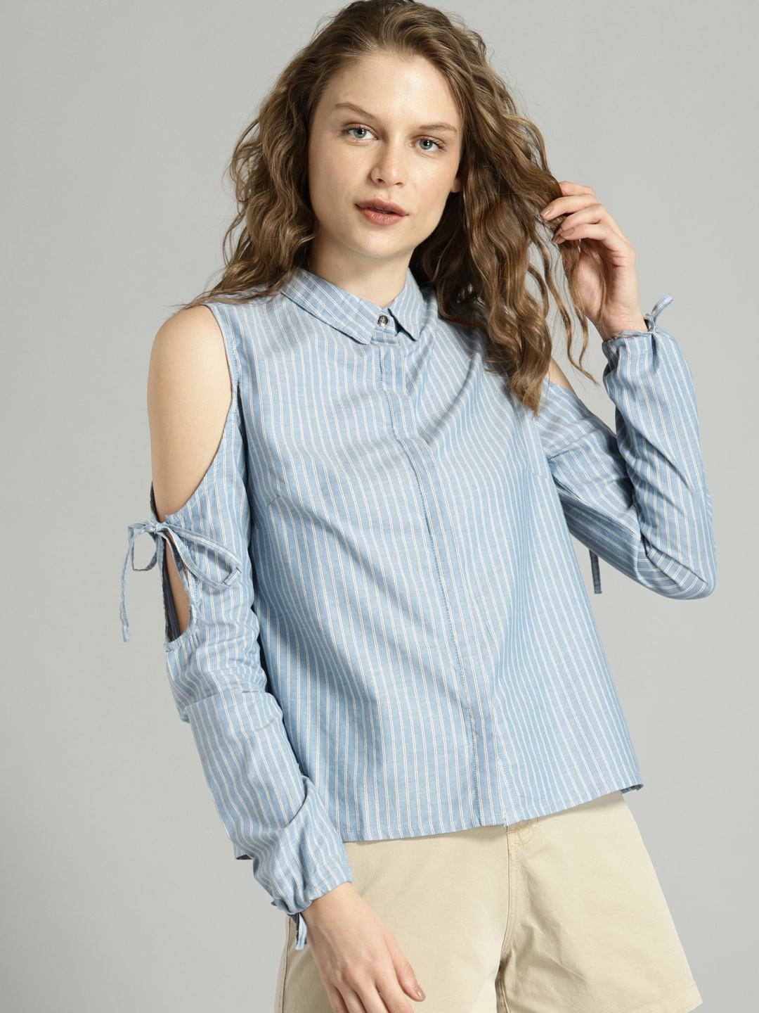 aa666c53c2 Buy Roadster Women Blue & White Striped Shirt Style Top - Tops for ...