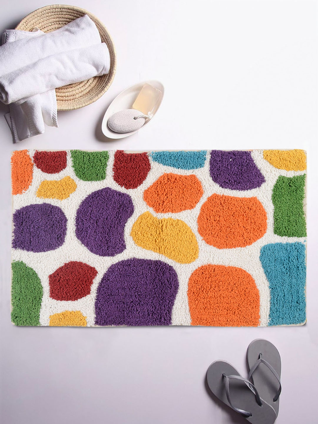 Romee Multi Coloured Textured Rectangular Bath Rug