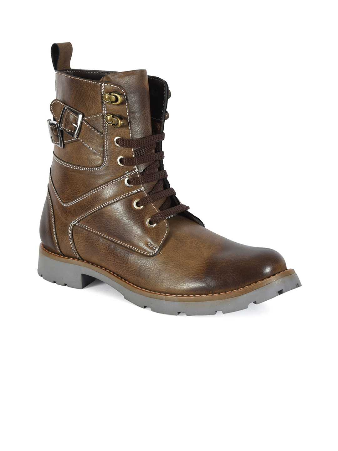 c8eda6dd154 Buy Bacca Bucci Men Brown Solid Synthetic Leather High Top Flat ...