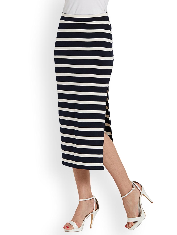 05e41eb4bd Buy Globus Navy Blue & White Straight Midi Skirt - Skirts for Women ...