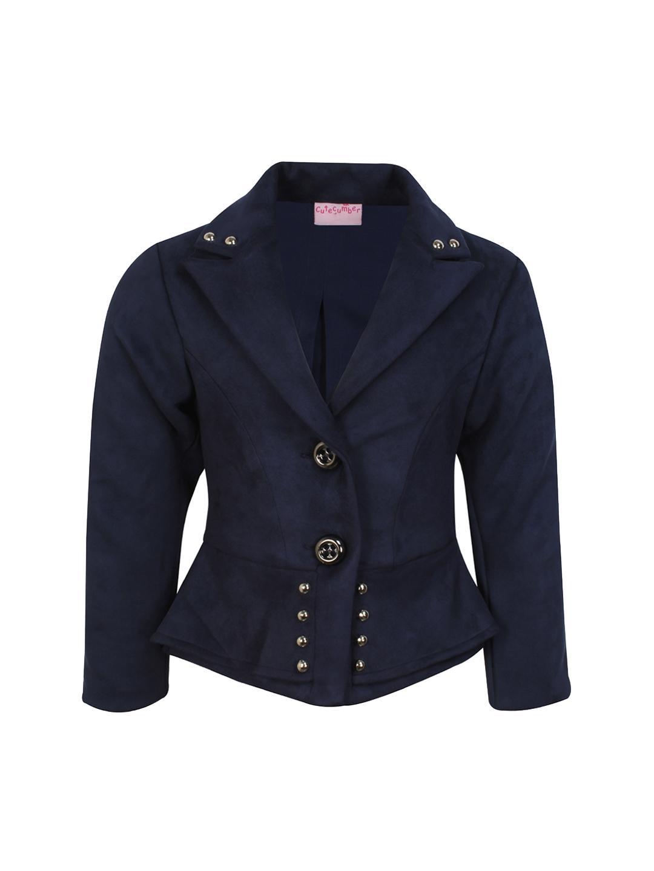 b20cd39cba5a Buy CUTECUMBER Girls Navy Blue Pea Coat - Coats for Girls 2337967 ...