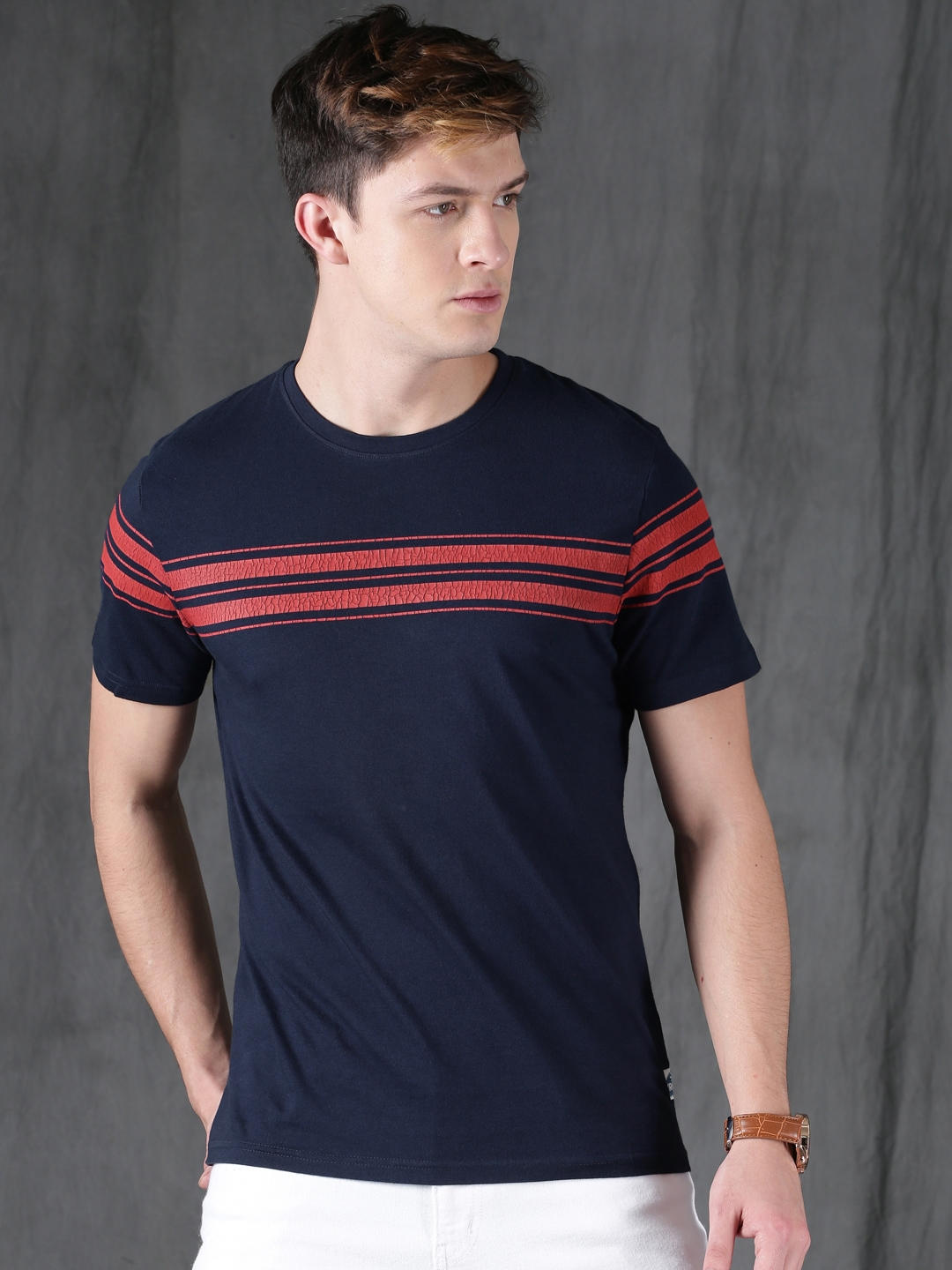 4112e45876ea Buy WROGN Men Navy Blue Striped Slim Fit Round Neck T Shirt ...