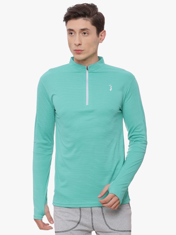 Campus Sutra Men Sea Green Striped Mandarin Collar T shirt