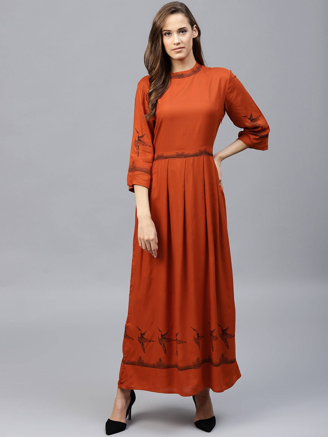 d9472668e60b Buy Tokyo Talkies Women Rust Orange Solid Maxi Dress - Dresses for ...