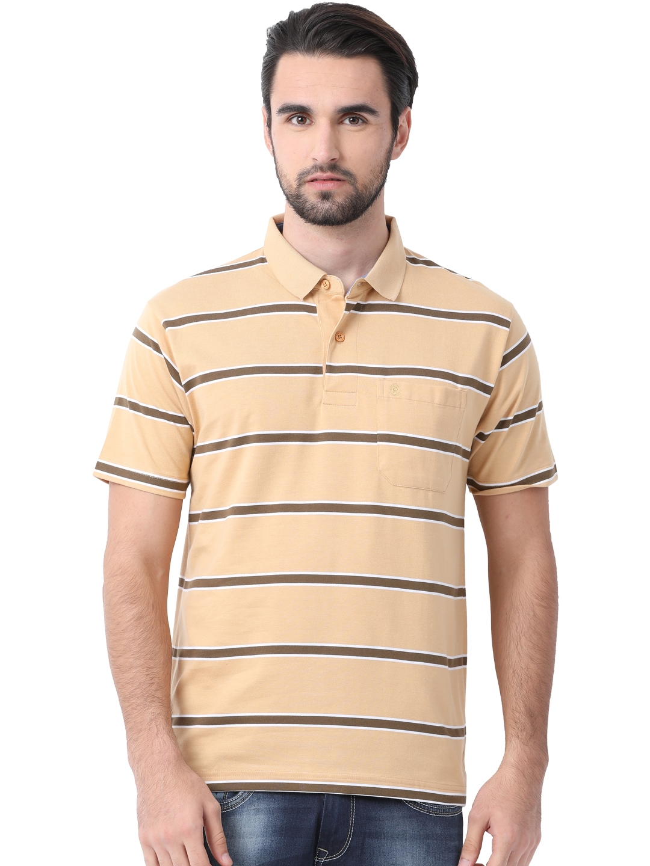 111595a35 Buy Classic Polo Men Peach Coloured Striped Slim Fit Polo Collar T ...