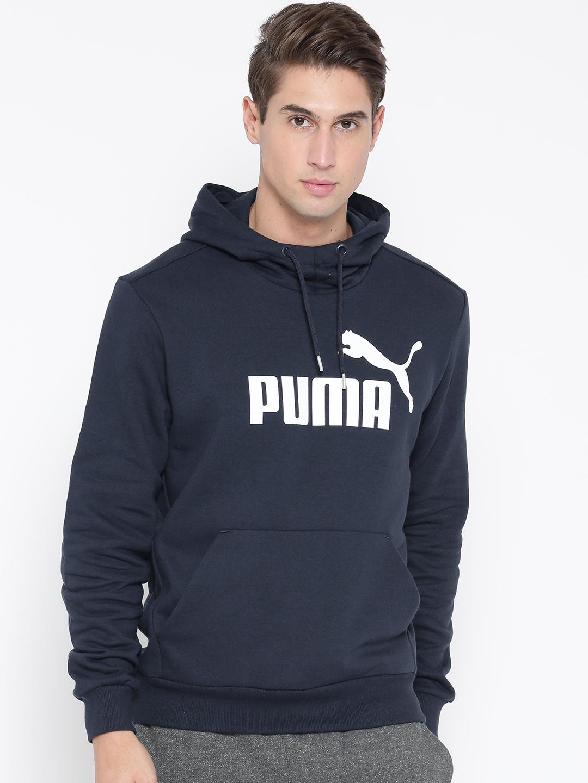 41a441152df3 Buy Puma Men Navy Blue ESS No.1 Printed Hooded Sweatshirt ...