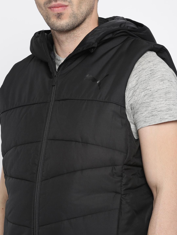 602304873e96 Buy Puma Men Black Solid ESS 400 VEST Padded Jacket - Jackets for ...