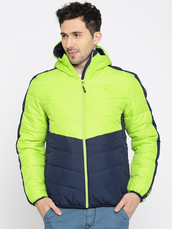 0f98d232 Buy Puma Men Fluorescent Green & Blue Colourblocked ESS WarmCELL Padded  JACKET Jacket - Jackets for Men 2344768   Myntra