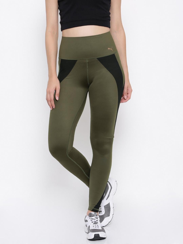 6f0c9cfb42d8c Buy Puma Olive Green & Black PWRSHAPE Tights - Tights for Women ...