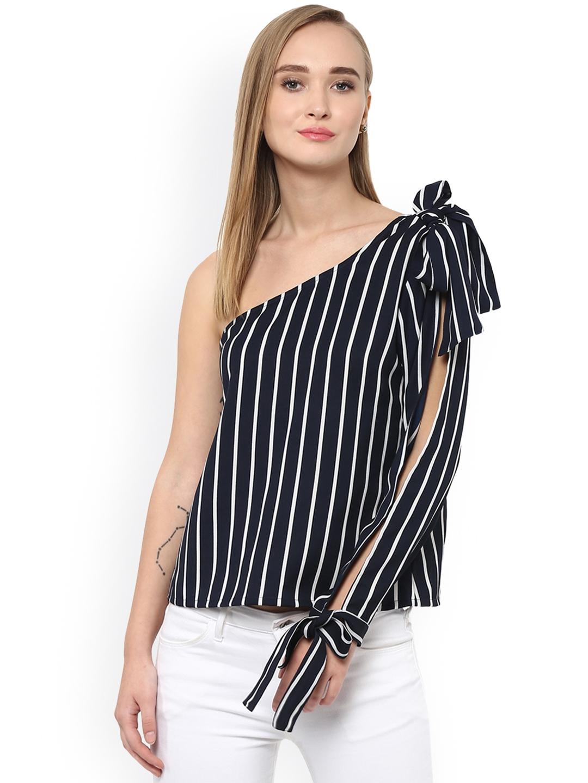 97a23da9871e8c Buy Besiva Women Navy Blue Striped One Shoulder Top - Tops for Women ...