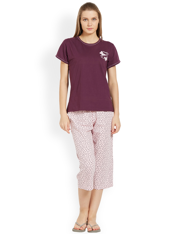 Buy Velvet By Night Women Purple   Pink Solid Night Suit - Night ... d6c10a266
