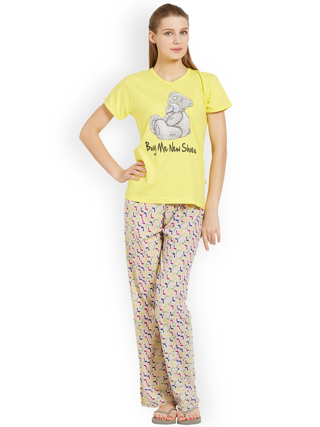 cb47972a635 Buy Velvet By Night Women Yellow Printed Night Suit - Night Suits ...