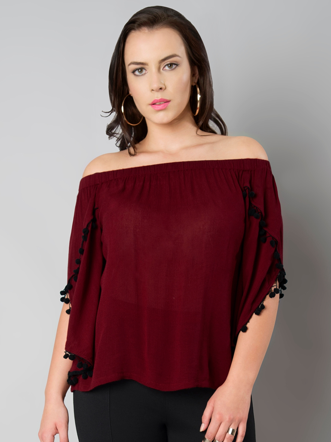 af0b68e85e1bf Buy FabAlley Curve Women Maroon Solid Top - Tops for Women 2346784 ...