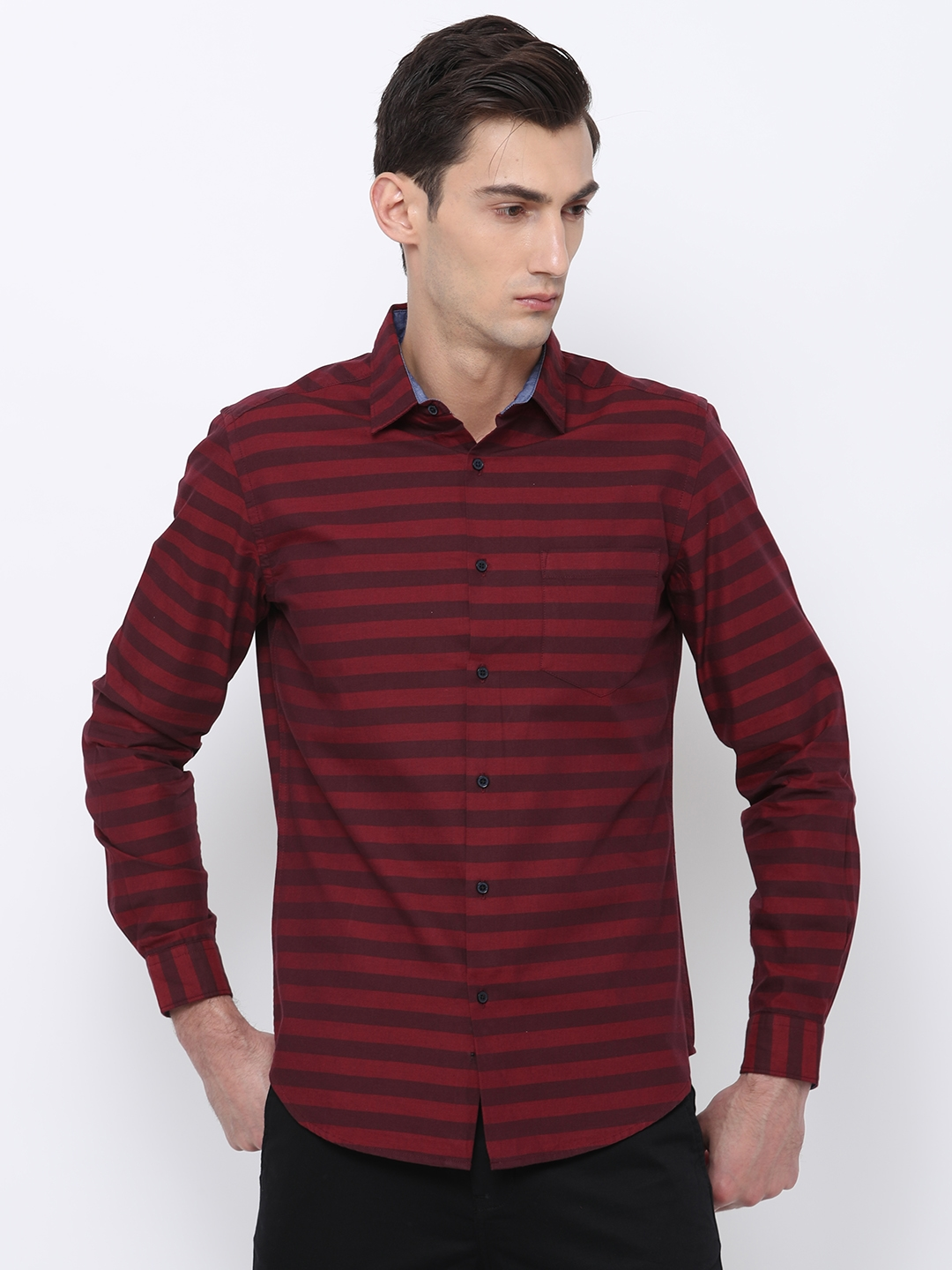 476a2a84e0a0 Buy Black Coffee Men Red   Maroon Slim Fit Striped Casual Shirt ...
