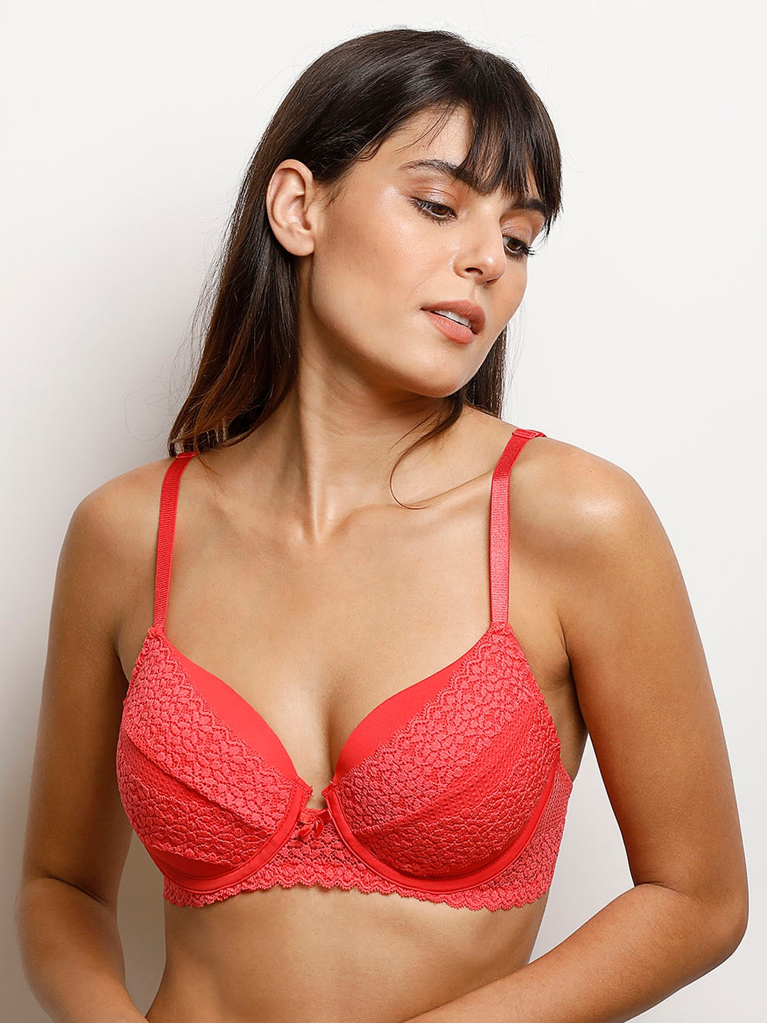 b502515dc1f66 Buy Zivame Red Lace Underwired Heavily Padded Push Up Bra - Bra for ...