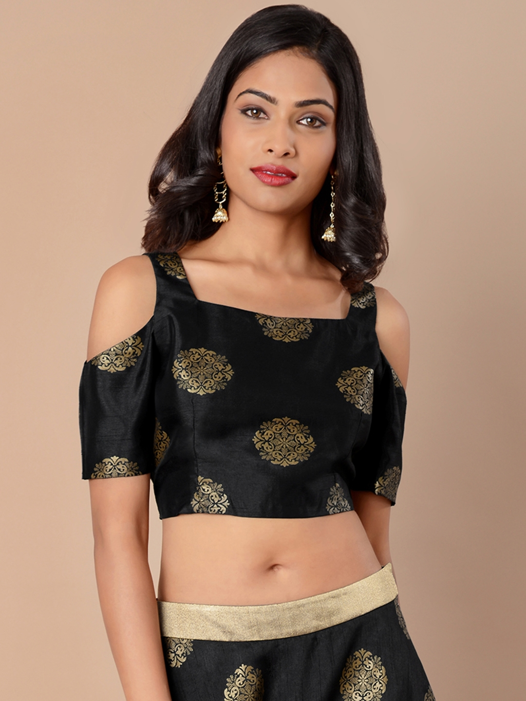 5def4853843047 Buy INDYA Women Black Self Design Brocade Crop Top - Tops for Women ...