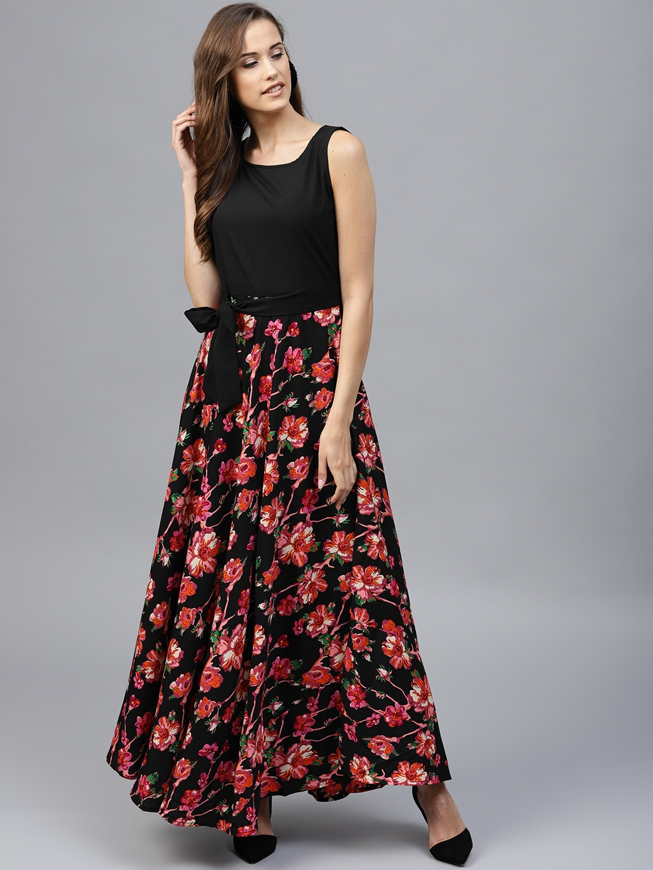 982459017df Buy Tokyo Talkies Women Black   Pink Printed Maxi Dress - Dresses ...