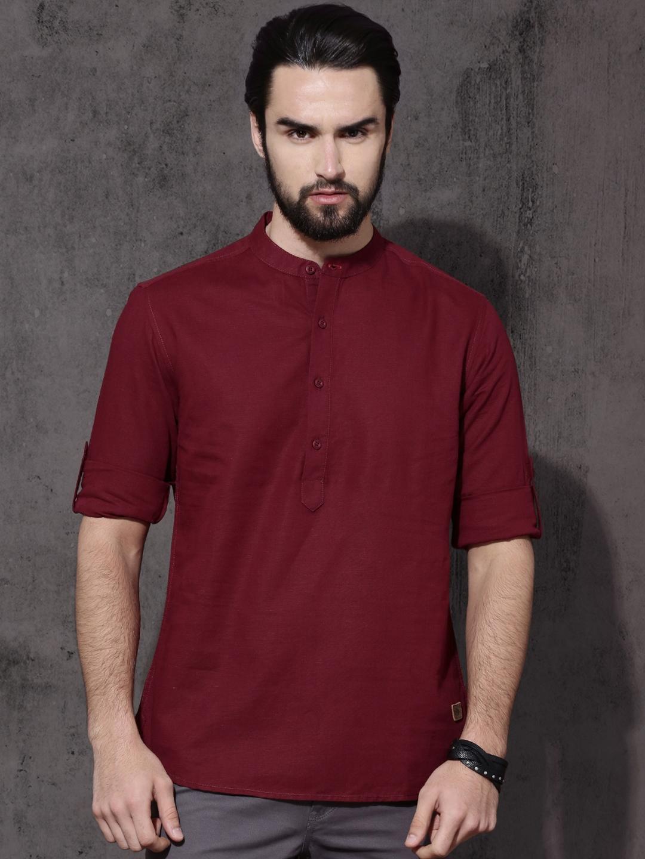 Roadster Men Maroon Regular Fit Solid Cotton Linen Casual Shirt