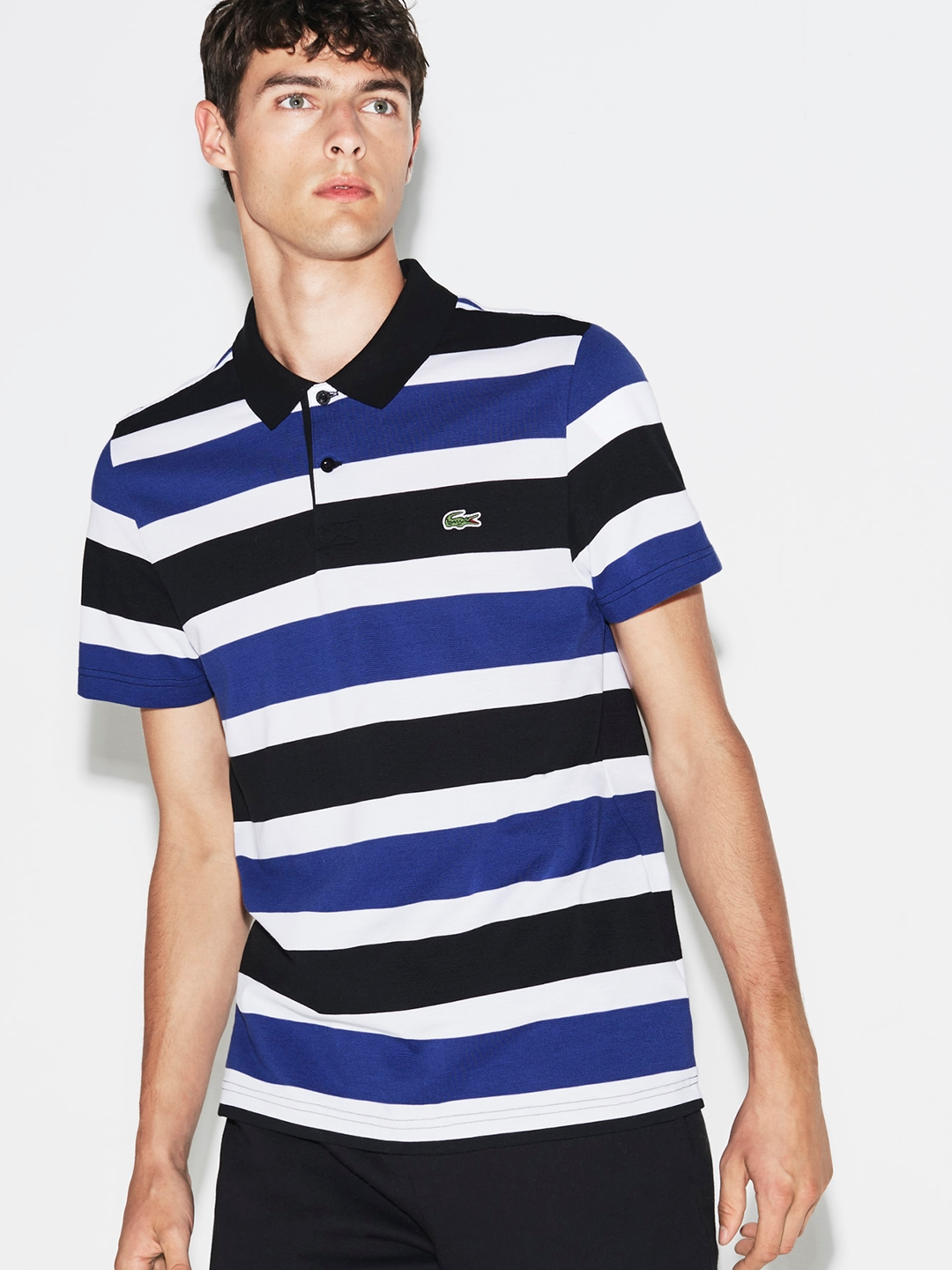 286b31fa Buy Lacoste Men Blue Striped Polo Collar T Shirt - Tshirts for Men ...