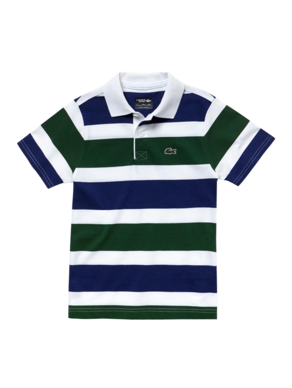 53d1d86ca Buy Lacoste Boys Blue Striped Polo Collar T Shirt - Tshirts for Boys ...