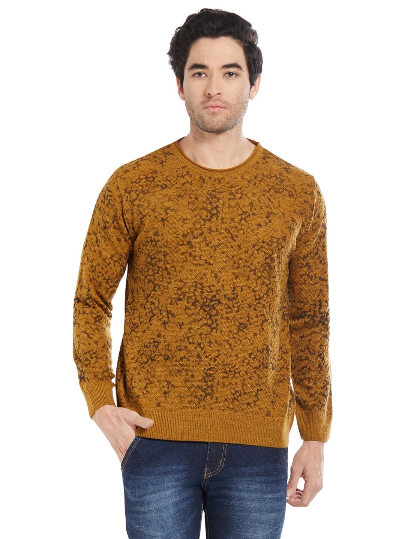 b75c8f3d787 Buy Globus Men Mustard Yellow   Brown Printed Pullover - Sweaters ...