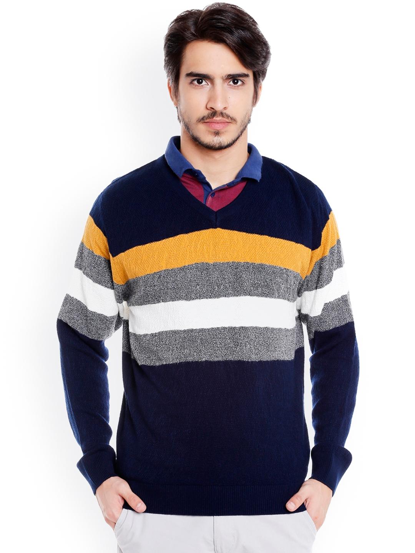 9b6b78a356b Buy Globus Men Navy Blue   Multicoloured Striped Pullover - Sweaters ...