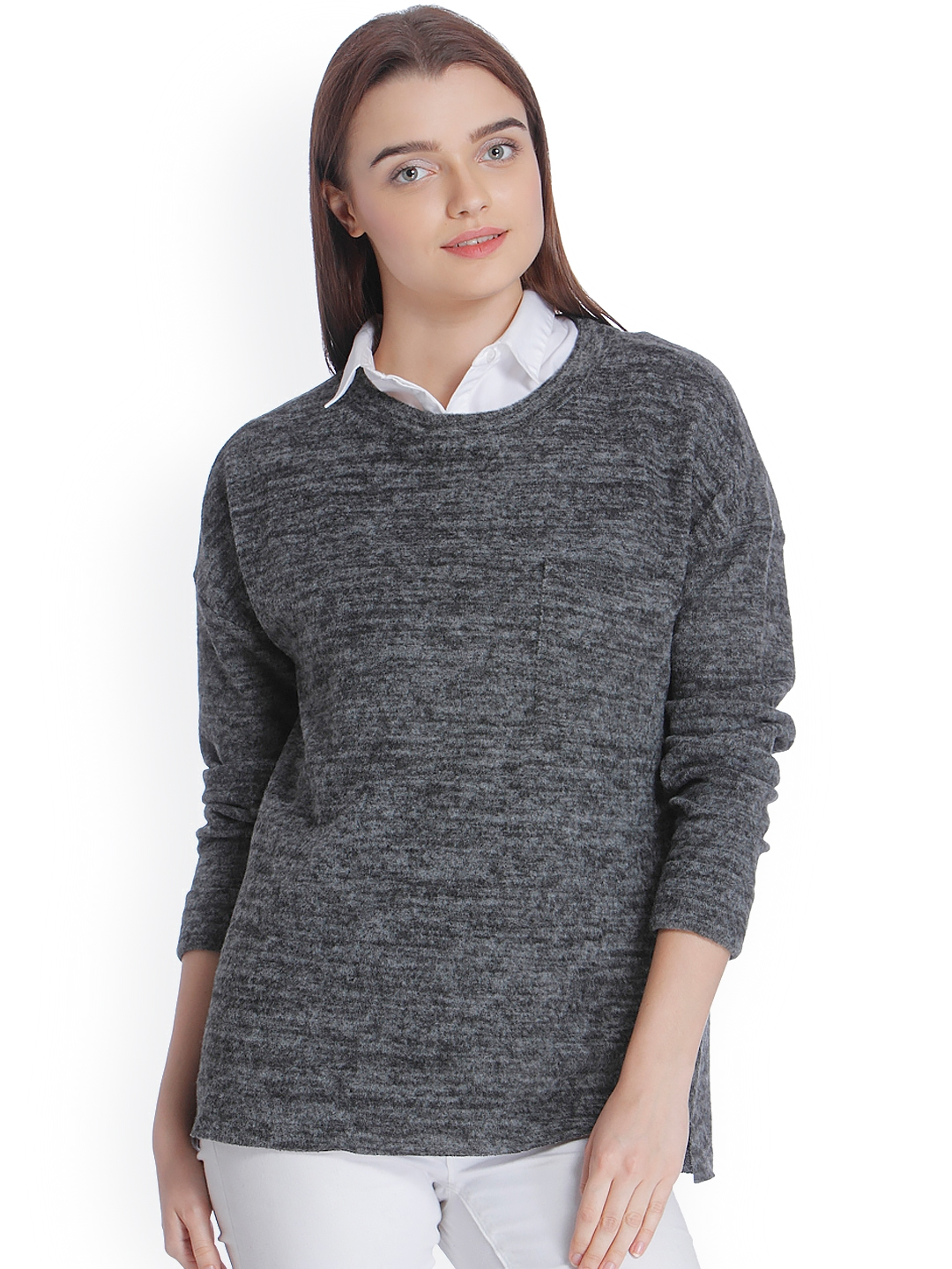 497e2726f87 Buy Vero Moda Women Charcoal Grey Self Design Pullover - Sweaters ...