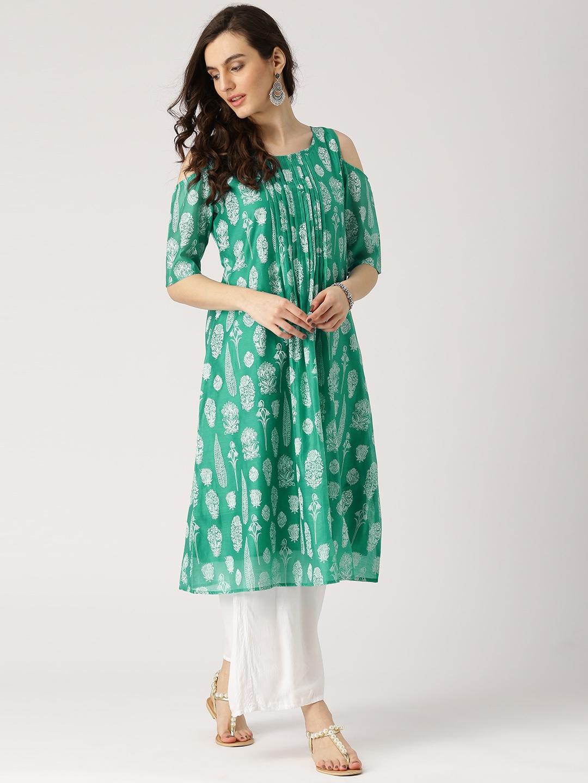 bf89802bde1247 Buy IMARA Women Sea Green & White Printed Cold Shoulder A Line Kurta ...